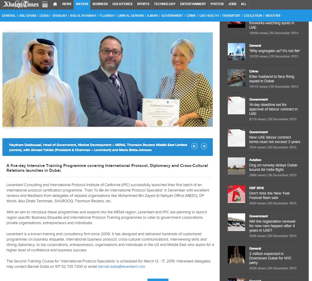 Khaleej Times, Dubai – Launch of Train To Be An International Protocol Specialist